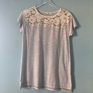 Boutique | gray tee with vintage inspired lace